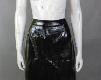Vintage Black Skirt - Faux Latex Skirt - Midi Skirt - Faux Leather Skirt - Polyester Skirt - Sex - Sex Skirt - Sexy Skirt - Fetish Skirt