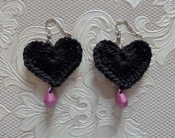 Black Heart Earrings, cotton and beads, black and pink