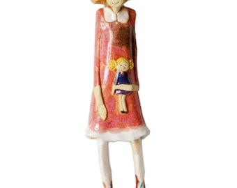 Ceramic Wall Art | Pink Dress | Rug Doll | Red Bow | Quirky Gift or a Home Decor for girls bedroom