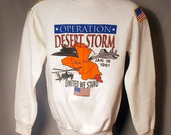 1991 Operation Desert Storm White Sweatshirt Sz Small Military Patches United We Stand American Flag USA Crewneck Air Force USAF Army 90s