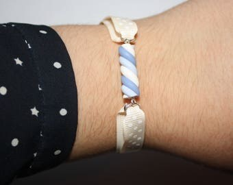 Marshmallow colored polymer clay bracelet