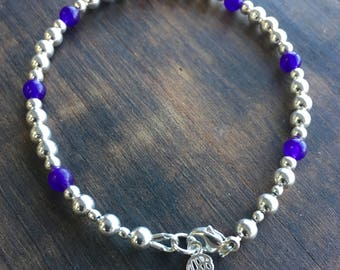 Angel Wing Sterling Silver Charm with Amethyst Bracelet