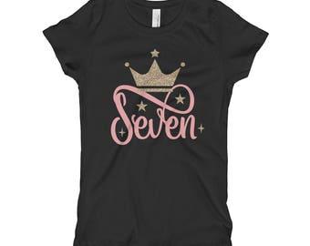 7th Birthday Shirt - Seventh Birthday Shirt - Seven Shirt - Pink and Gold FAUX Glitter Crown