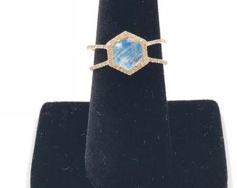 Custom order - size 5 - 14k gold diamond rainbow moonstone ring, 14k gold ring, Moonstone ring, Rainbow moonstone ring,  Pave diamond moonst