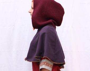 Purple wool LARP medieval gugel - One-Size