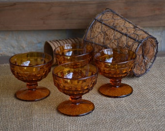 Set of Four (4) Indiana Glass, Whitehall Colony Footed Low Sherbet/Coupe Glasses in Amber