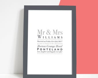 Personalised Classic Typographic Wedding or Anniversary Print, Wedding Gift, Paper Anniversary, A4 First Anniversary Print, Grey Shades 1st