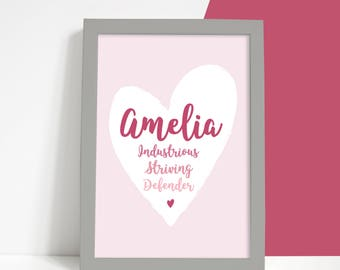 Baby name meaning nursery print with character traits ready to personalised pink heart baby name meaning print custom christening baptism gift a4 new baby negle Images