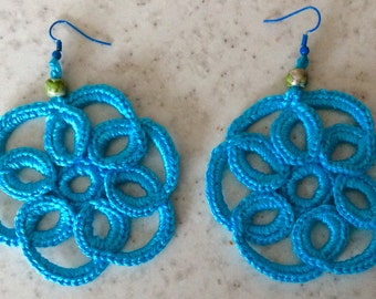 Turquoise blue spiral earrings