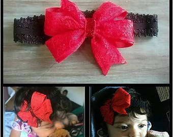 Red Lace Bow | Hair Bow | Handmade