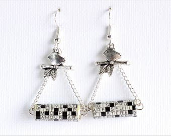 Clearance * Silver earrings - paper beads - bird
