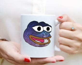 Space Pepe Frog Meme Mug | Happy Pepe Meme | Pepe Mug | Rare Pepe Dank Meme Cosmic Space Frog Meme Cup | Meme Mug Gift | Feels Good Man Mug