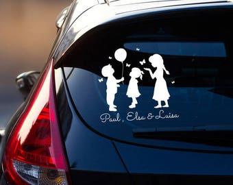 Car Decal Sticker Rear Window Children Name M2197