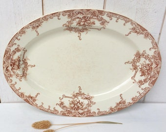 Antique French 1900s transferware Oval serving dish,  french Platter J.MABUT à la PAIX, Ironstone Large Platter 19s,