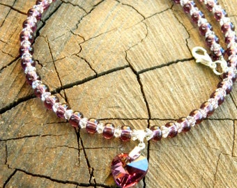 amethyst purple swarovski crystal necklace violet jewelry gift|for|her heart|pendant lavender choker|friendship|necklace gift love|massege
