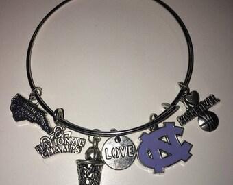 University of North Carolina Chapel Hill Tarheels NCAA Basketball Final Four National Champs Bangle Bracelet Beads Charms
