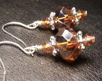 Amber glass crystal Drop dangle silver wire handmade earrings