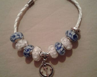 Pretty Blue and White Glass Beaded Bracelet with an Anchor Charm