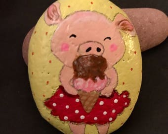 Piggy n Cone Painted Rock, Collectible & Decor