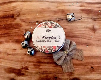 KONGLEN // Sandalwood & Pine Soy Candle // 8oz. Candle Travel Tin // Hand Poured Candle // Valentine's Gift // All Natural // Luxury