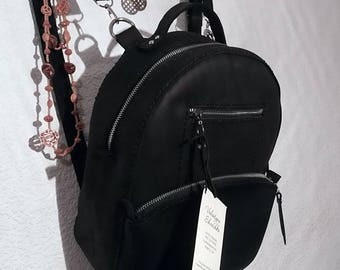 Handmade Leather Women Backpack/ small city vintage rucksack black