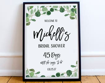 Bridal Shower Welcome Sign, Bridal Shower Poster, Bridal Shower Sign, Bridal Shower Decoration, Countdown Welcome Sign, Greenery Signs