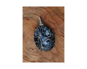 Tree of Life pendant, gray and white jasper, metaphysical, boho jewelry
