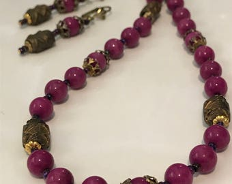 Pink/Purple Necklace and Earrings - Handmade