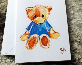 Sorry bear // watercolor card // blank card // bear // print