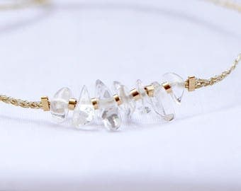 Bracelet rock crystal, gold Gold Filled 14 k & gold wire