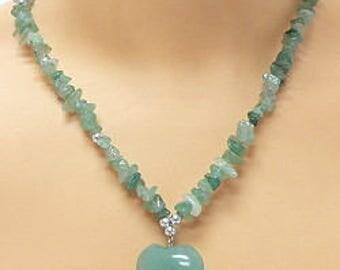 Aventurine Puffy Heart Necklace