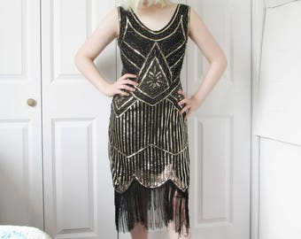Black & Gold Sequin Evening Dress, Flapper Dress, Charleston Dress, Roaring 20s Dress, Speakeasy Dress, Great Gatsby Party, Flapper Dress