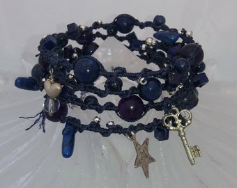 Indigo blue macrame cord and beaded wrap bracelet