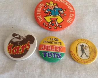 Badges Set of 4, Vintage, Retro, 1960's, 1970's, 1980's, Display, Props