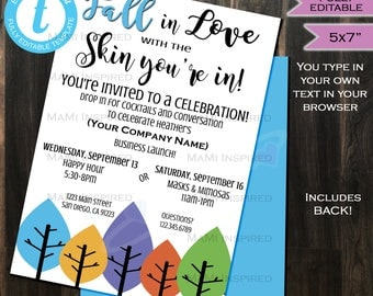 Rodan Fields Invitation Business Launch Party- BBL Invite R+F Cocktails & Conversation Fall in Love Skin Printable INSTANT Self EDITABLE 5x7