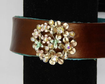 Leather Bracelet w/ Suede Lining & Upcycled Vintage Centerpiece: Rhinestone Multi-Flowered Earring