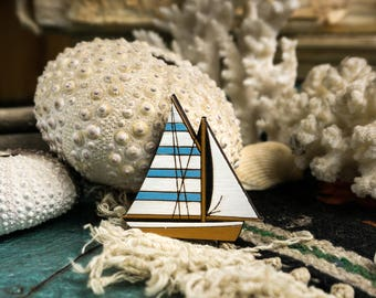 Sailing Yacht Wooden Brooch by WoodBrooch