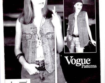 Vogue 1337 Calvin Klein Misses' Vest (12-14-16) Uncut, YR 1994