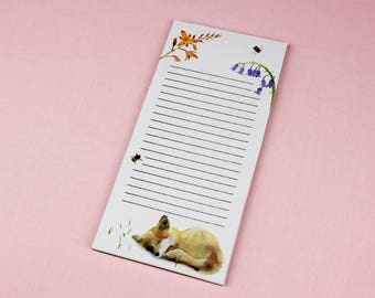 Fox Notepad / To do List / Shopping List / Shopping List Pad / Illustrated Notepad / Grocery List / To Do Notepad / Check List / Desk Pad.