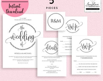 Wedding Invitation Template, Invitation Suite Template, White Wedding Invitation, Editable Wedding Invite, Instant Download, Printable