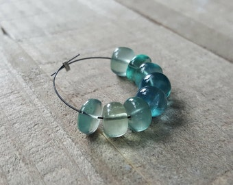 Large Blue Green Shaded Fluorite Smooth Rondelle Beads 6mm, 7mm