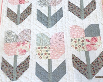 Pink and grey tulip quilt - white fleece backing - free shipping