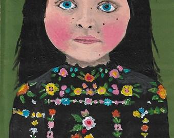 Little girl folk art print