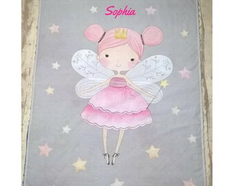 Custom minky blanket with name, Gray and pink fairy blanket, Stars baby girl blanket, Fairy nursery bedding, Fairy tale blanket with stars