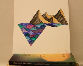Sea-Kissed Mountains Artwork Watercolor Painting