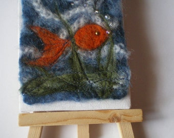 Cute goldfish mini wet felted wool picture with easel