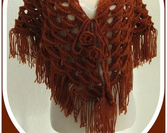 Shawl - scarf fringed crocheted, relief, caramel color