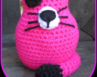 Melrose, pink and black cat, child amigurimi, blanket, hand crocheted.