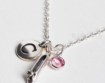 Personalised Ballet Necklace, Ballet Shoe Charm, Sterling Silver Ballet Shoe Charm,Birthstone Colour Charm, Personalised Charm Necklace