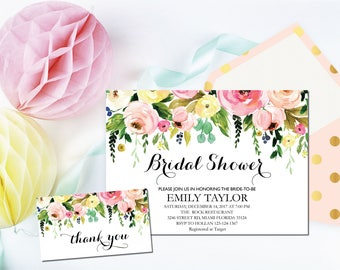 Bridal Shower Invitation, Printable Bridal Shower, Bridal Shower Template, Instant Download File, Flower Bridal Shower Gift, Bridal F-02